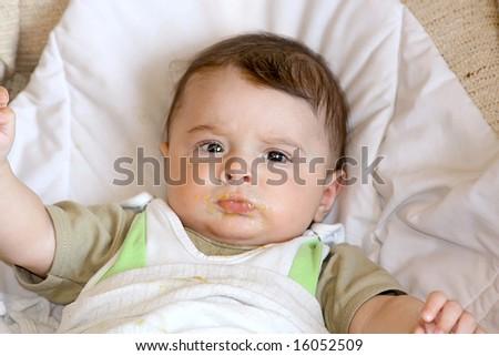 Feeding of infant. - stock photo