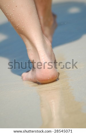 feet at sand - stock photo