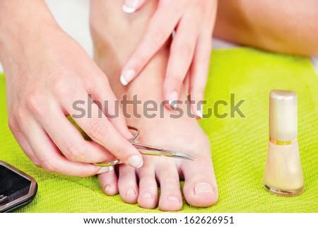 feet beauty treatment - stock photo