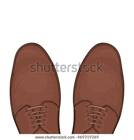 Feet in male shoes on the road.  illustration