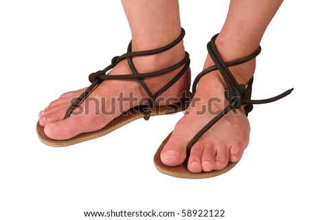 feet in sandals - stock photo