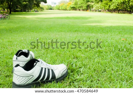 Feet in sneakers in green grass during sunny serene summer day.