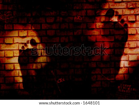 feet in the wall - stock photo