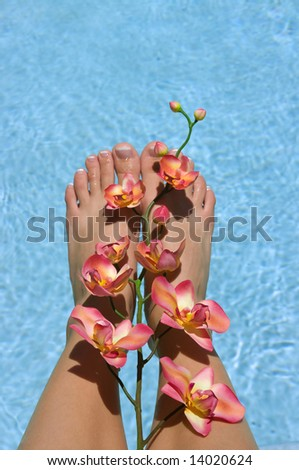Feet near pool with orchids - stock photo
