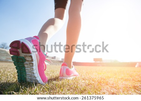 feet of an athlete training for fitness and healthy lifestyle - stock photo