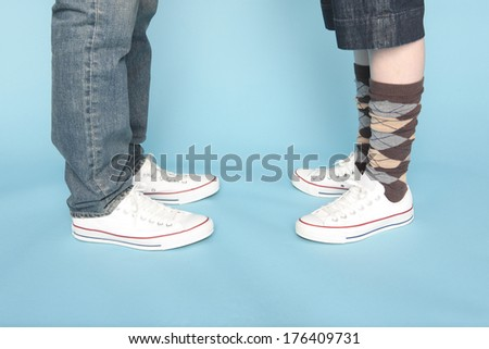 Feet of the Japanese couple facing each other