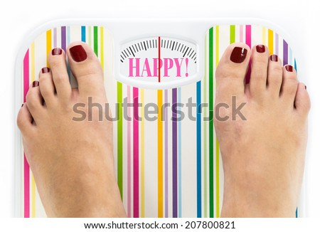 """Feet on bathroom scale with word """"Fuck"""" on dial - stock photo"""