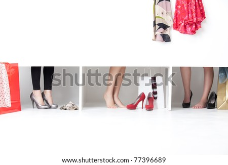 feet on high heels showing from wordrobe