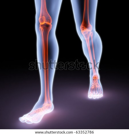feet walking person under X-rays. bones are highlighted in red. - stock photo