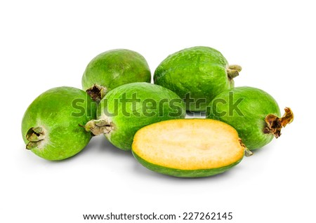 feijoa cut on white background.