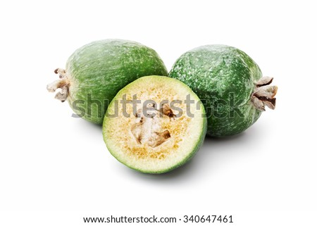 Feijoa-edible green fruit resembling guavas. Studio shoot, infinite depth of field,retouched