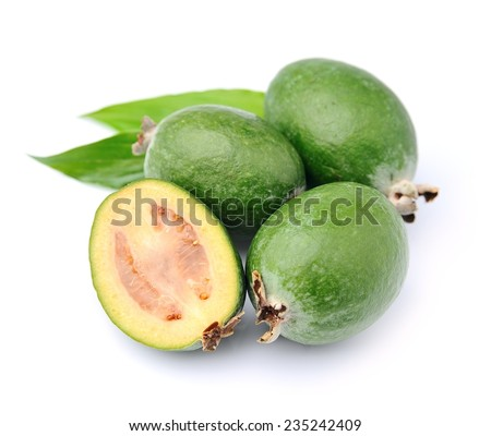 Feijoa fruits  close up on white background .Tropical fruits
