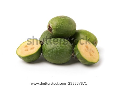 Feijoa fruits isolated on the white background