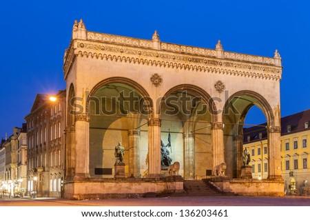Feldherrnhalle at Odeonsplatz in Munich - Bavaria, Germany - stock photo
