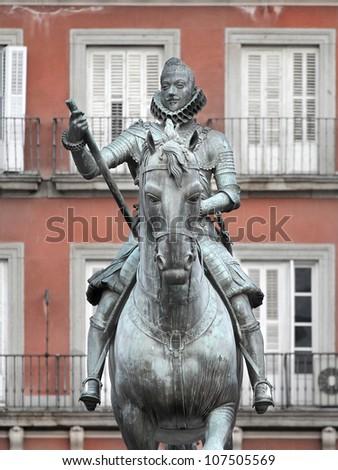 Felipe III. Equestrian statue in Madrid - stock photo