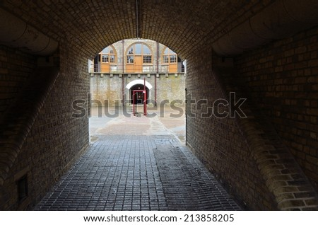 FELIXSTOWE, SUFFOLK, ENGLAND - AUGUST 25, 2014: Landguard fort Felixstowe archway into centre courtyard.