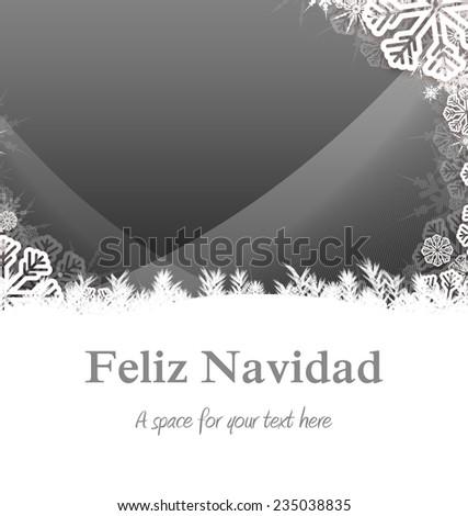 Feliz navidad against christmas themed snow flake frame - stock photo
