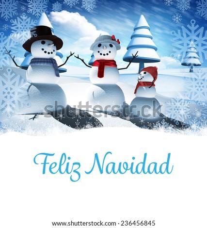 Feliz navidad against snow man family - stock photo
