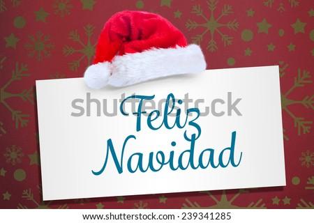 Feliz navidad against snowflake wallpaper pattern - stock photo