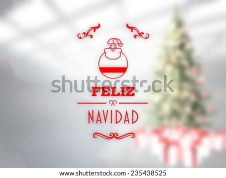 Feliz navidad banner against blurry christmas tree in room - stock photo