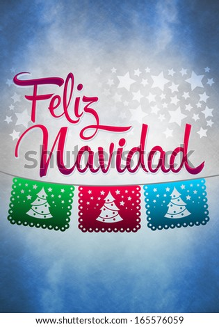 Feliz Navidad - Merry Christmas spanish text - poster template - stock photo