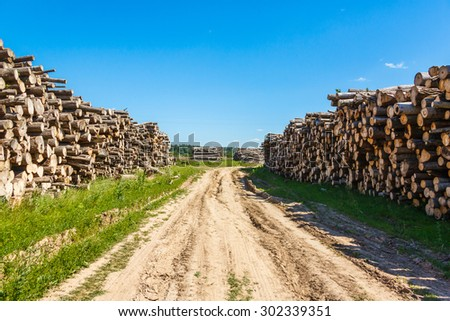 Felled tree trunks piled on either side of agricultural road on the field - stock photo