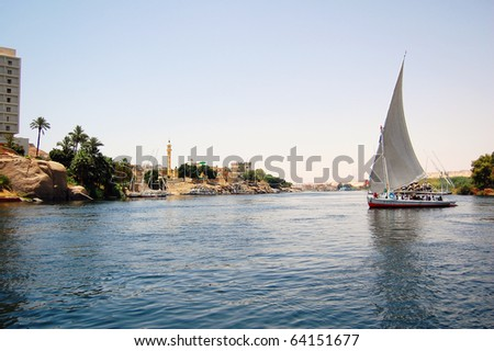 Felluca sailing down the Nile River in Egypt.
