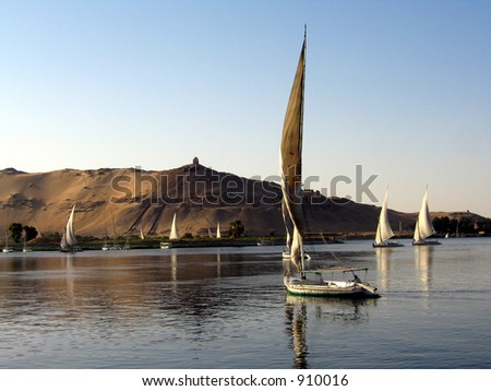 Fellukahs on the Nile - stock photo