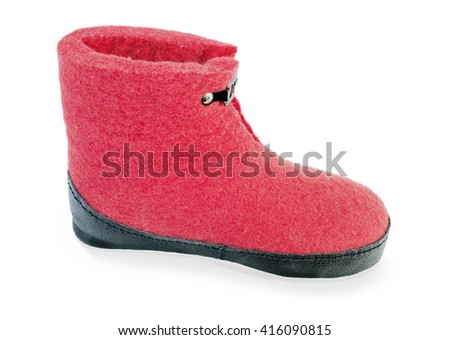 Felt boot bright red on a white background - stock photo