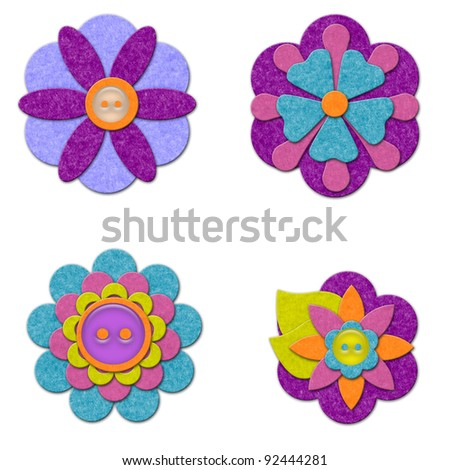 Felt flowers set - stock photo