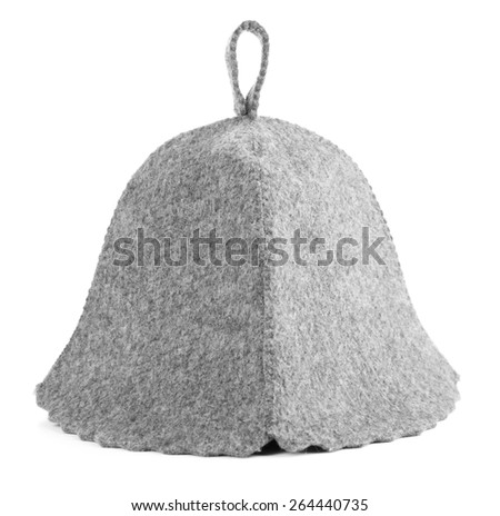 Felt hat for sauna, isolated on white - stock photo
