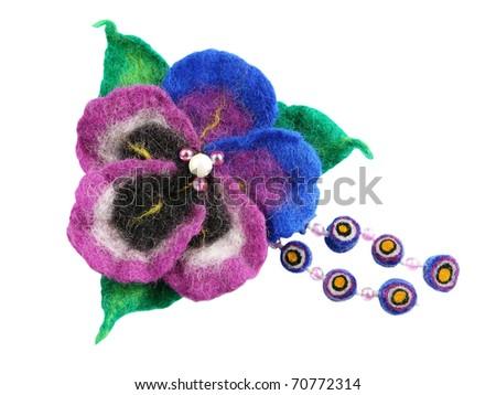 Felt of natural wool brooch. Viola - stock photo