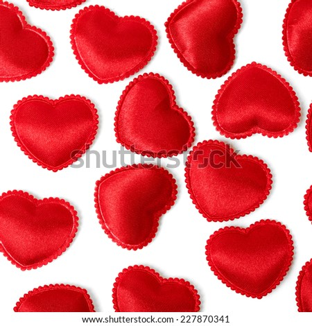 Felt red hearts isolated on a white background. studio shot - stock photo
