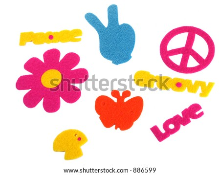 Felt signs and symbols of the 70's - stock photo