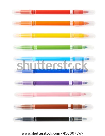 Felt-tip pen marker isolated over the white background, set of ten different colors - stock photo