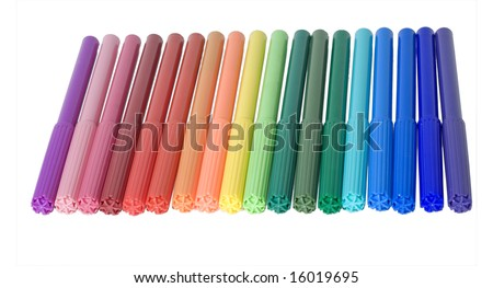 Felt-tip pens any colours on white background