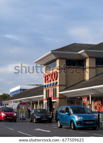 Feltham, London, Middlesex, England - July 14, 2017: Tesco Extra supermarket store, company founded by Jack Cohen in 1919