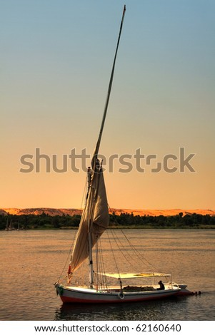 Felucca boat in Nile River, Egypt (HDR Photo) - stock photo