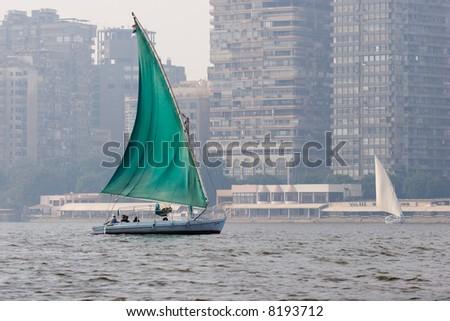 Felucca on Nile, Cairo, Egypt - stock photo