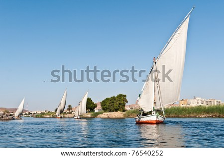 Feluccas over the river Nile, typical sailing boats in Egypt - stock photo
