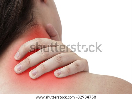 femal having neckache and is giving herself Massage - stock photo