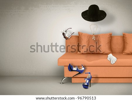 Female accessories concept, invisible woman - stock photo