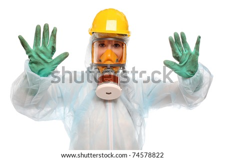 Female activist in protective suit for bio-hazard on white background. - stock photo