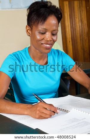 female adult african american student - stock photo