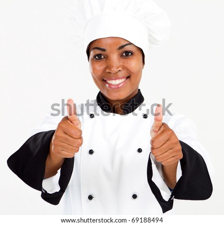 female african american chef thumbs up - stock photo