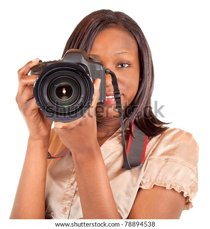 Female African American Photographer - stock photo