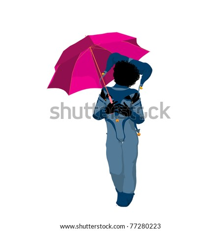 Female African American tween clown with an umbrella on a white background - stock photo