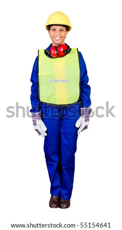 female african construction worker with protective gear - stock photo