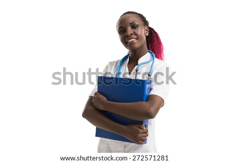 Female African Doctor standing with folder, isolated on white background