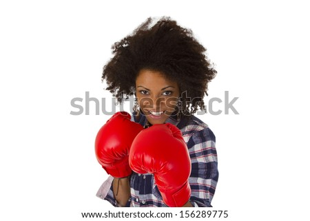Female afro american with red boxing gloves - isolated on white background - stock photo